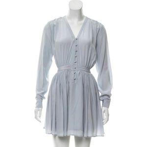 Thakoon Addition silk lined blue gray v neck dress